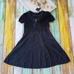 NWT Twin Set Black Silk Lace Wool Slip Dress S